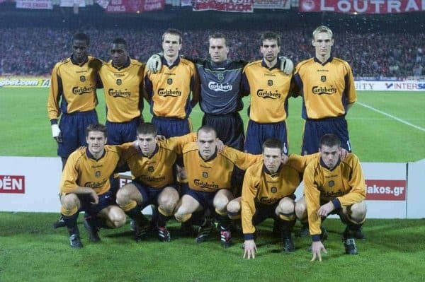 ATHENS, GREECE - Thursday, November 23, 2000: Liverpool's players line-up for a a team photo before the UEFA Cup 3rd Round 1st Leg match against Olympiakos. Back row L-R: Djimi Traore, Emile Heskey, Dietmar Hamann, Sander Westerveld, Markus Babbel, Sami Hyypia. Front row L-R: Michael Owen, Steven Gerrard, Danny Murphy, Nick Barmby, Jamie Carragher. (Photo by David Rawcliffe/Propaganda)