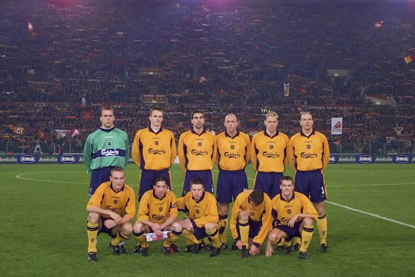 ROME, ITALY - Thursday, February 15, 2001: Liverpool's team line up before the UEFA Cup 4th Round 1st Leg match against AS Roma at the Stadio Olimpico. Back row L-R: Sander Westerveld, Dietmar Hamann, Markus Babbel, Gary McAllister, Stephane Henchoz, Christian Ziege. Front row L-R: Sami Hyypia, captain Robbie Fowler, Nicky Barmby, Jamie Carragher, Michael Owen.  (Pic by David Rawcliffe/Propaganda)