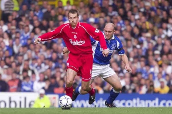 LIVERPOOL, ENGLAND - Saturday, September 15, 2001: Liverpool's Dietmar Hamann and Everton's Thomas Graveson during the Premiership match at Goodison Park. (Pic by David Rawcliffe/Propaganda)