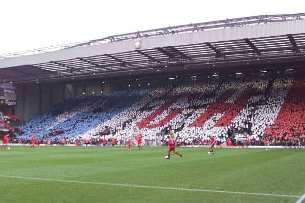LIVERPOOL, ENGLAND - Sunday, November 4, 2001: Liverpool's supporters on the Spion Kop pay tribute to manager Gerard Houllier with a mosaic before the Premiership match at Anfield. (Pic by David Rawcliffe/Propaganda)