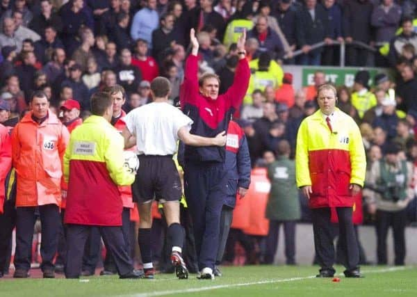 LIVERPOOL, ENGLAND - Sunday, November 4, 2001: Liverpool's caretaker manager Phil Thompson celebrates the 3-1 victory over Manchester United during the Premiership match at Anfield. (Pic by David Rawcliffe/Propaganda)