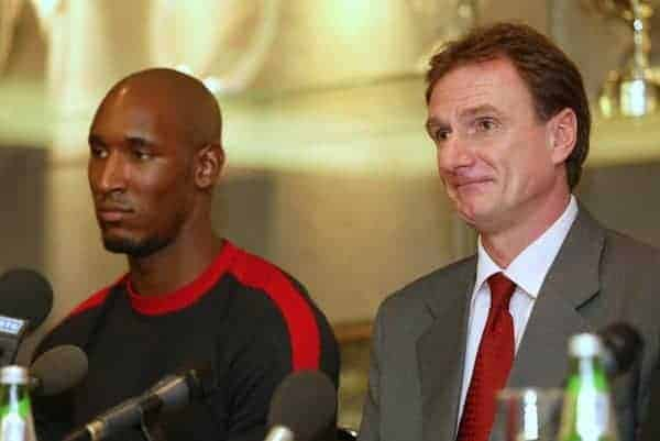 LIVERPOOL, ENGLAND - Monday, December 24, 2001: Liverpool's assistant manager Phil Thompson (right) and French striker Nicolas Anelka during a press conference at Anfield. (Pic by David Rawcliffe/Propaganda)