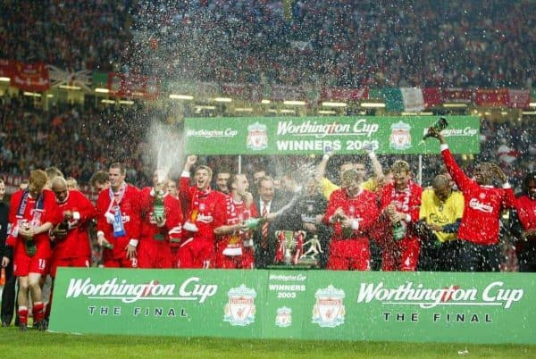 Liverpool celebrate beating Manchester United 2-0 to win the Worthington League Cup at the Millennium Stadium. (Pic by David Rawcliffe/Propaganda)