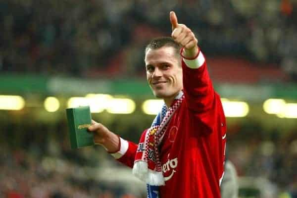 Liverpool's Jamie Carragher celebrates winning the League Cup after beating Manchester United 2-0 during the Football League Cup Final at the Millennium Stadium. (Pic by David Rawcliffe/Propaganda)