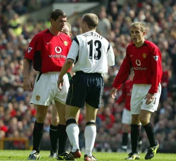 MANCHESTER, ENGLAND - Saturday, April 5, 2003: Manchester United's Roy Keane and Liverpool's Danny Murphy during the Premiership match at Old Trafford. (Pic by David Rawcliffe/Propaganda)
