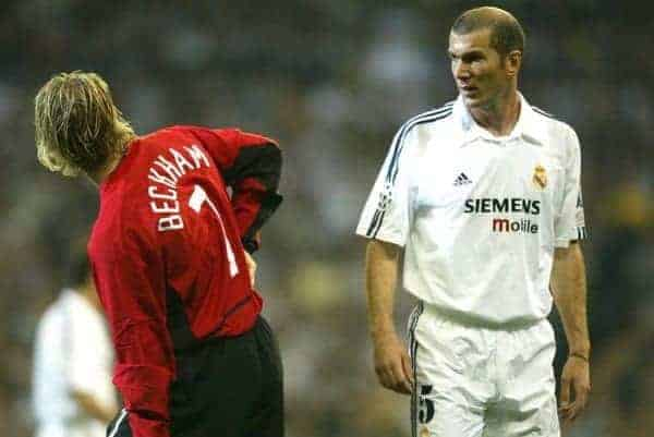 Manchester United's David Beckham and Real Madrid's Zinedine Zidane during the UEFA Champions League Quarter Final 1st Leg match at the Estadio Santiago Bernabeu. (Pic by David Rawcliffe/Propaganda)