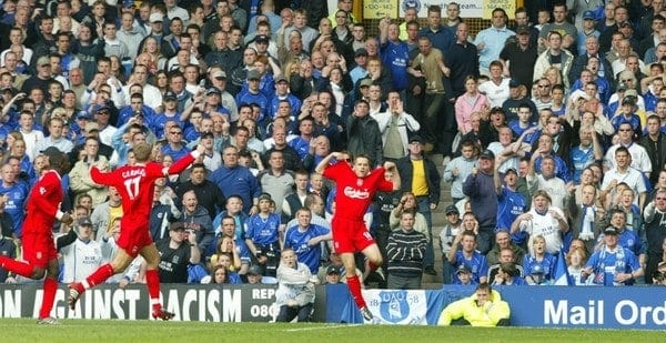 LIVERPOOL, ENGLAND - Saturday, April 19, 2003: Liverpool's Michael Owen celebrates scoring against Everton during the Merseyside Derby Premiership match at Goodison Park. (Pic by David Rawcliffe/Propaganda)
