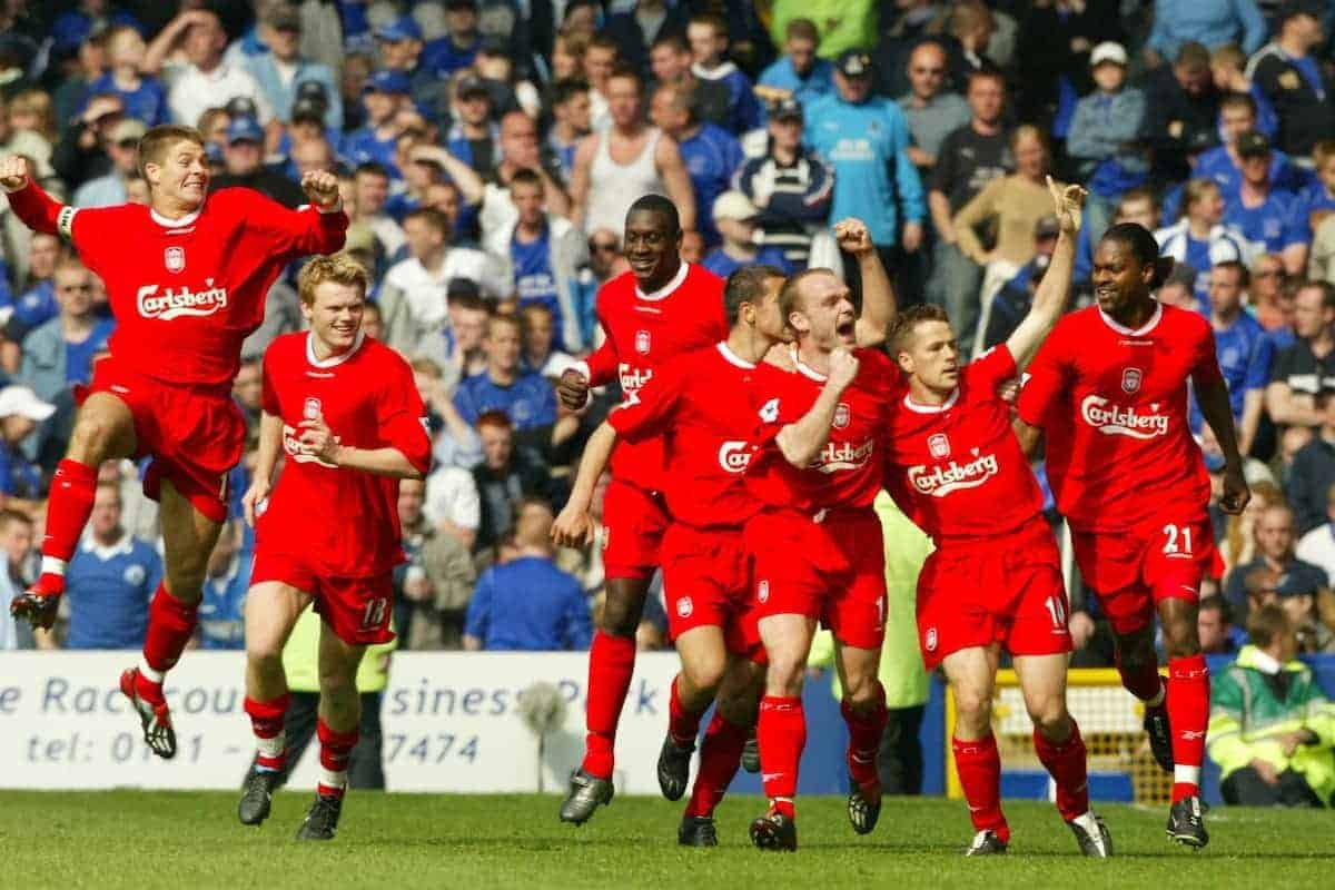 LIVERPOOL, ENGLAND - Saturday, April 19, 2003: Liverpool's goalscorer Michael Owen (r) leads his team's celebrations after scoring against Everton during the Merseyside Derby Premiership match at Goodison Park. L-R: Steven Gerrard, John Arne Riise, Emile Heskey, Danny Murphy, Salif Diao. (Pic by David Rawcliffe/Propaganda)