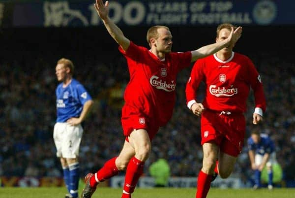 LIVERPOOL, ENGLAND - Saturday, April 19, 2003: Liverpool's Danny Murphy celebrates scoring the winning gaol against Everton during the Merseyside Derby Premiership match at Goodison Park. (Pic by David Rawcliffe/Propaganda)