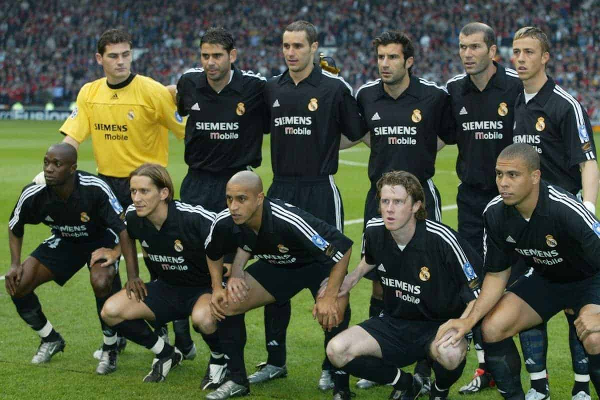 MANCHESTER, ENGLAND - Wednesday, April 23, 2003: Real Madrid line-up to face Manchester United before the UEFA Champions League Quarter Final 2nd Leg match at Old Trafford...Back row l-r: Iker Casillas, Fernando Hierro, Ivan Helguera, Luis Figo, Zinedine Zidane, Guti. Front row l-r: Claude Makelele, Michel Salgado, Roberto Carlos, Steve McManaman, Ronaldo.