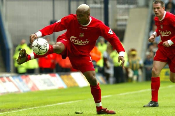 WEST BROMWICH, ENGLAND - Saturday, April 26, 2003: Liverpool's El-Hadji Diouf in action against West Bromwich Albion during the Premiership match at the Hawthorns. (Pic by David Rawcliffe/Propaganda)