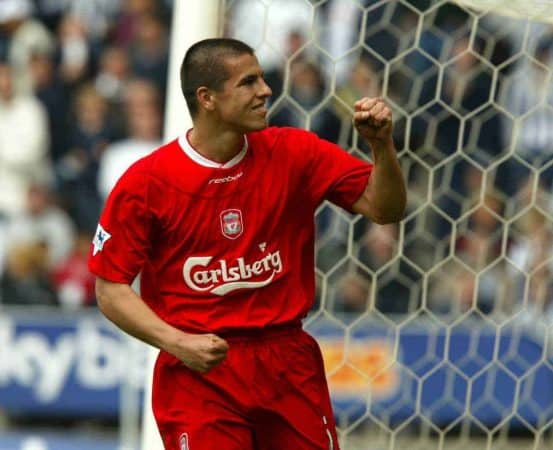 WEST BROMWICH, ENGLAND - Saturday, April 26, 2003: Liverpool's Milan Baros celebrates scoring the sixth goal against West Bromwich Albion during the Premiership match at the Hawthorns. (Pic by David Rawcliffe/Propaganda)
