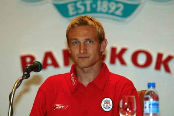 BANGKOK, THAILAND - Thursday, July 22, 2003: Liverpool's Sami Hyypia at a press conference at the Merchant Court Hotel in Bangkok, ahead of their preseason match against Thailand. (Pic by David Rawcliffe/Propaganda)