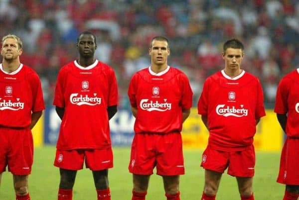 BANGKOK, THAILAND - Thailand. Thursday, July 24, 2003: Liverpool's (l-r) Djimi Traore, Bruno Cheyrou and Anthony Le Tallec line up to face Thailand before a preseason friendly match at the Rajamangala National Stadium. (Pic by David Rawcliffe/Propaganda)