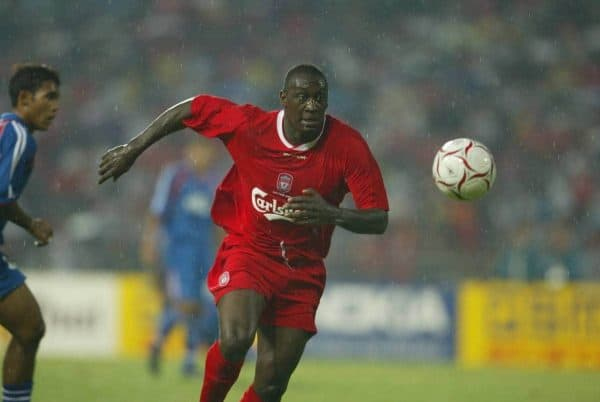 BANGKOK, THAILAND - Thailand. Thursday, July 24, 2003: Liverpool's Emile Heskey in action against Thailand during a preseason friendly match at the Rajamangala National Stadium. (Pic by David Rawcliffe/Propaganda)