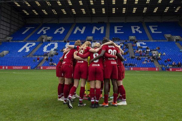 Liverpool FC Women team huddle before the WSL game at Prenton Park on October 14, 2018 in Birkenhead, England. (Photo by Nick Taylor/Liverpool FC/Liverpool FC via Getty Images)