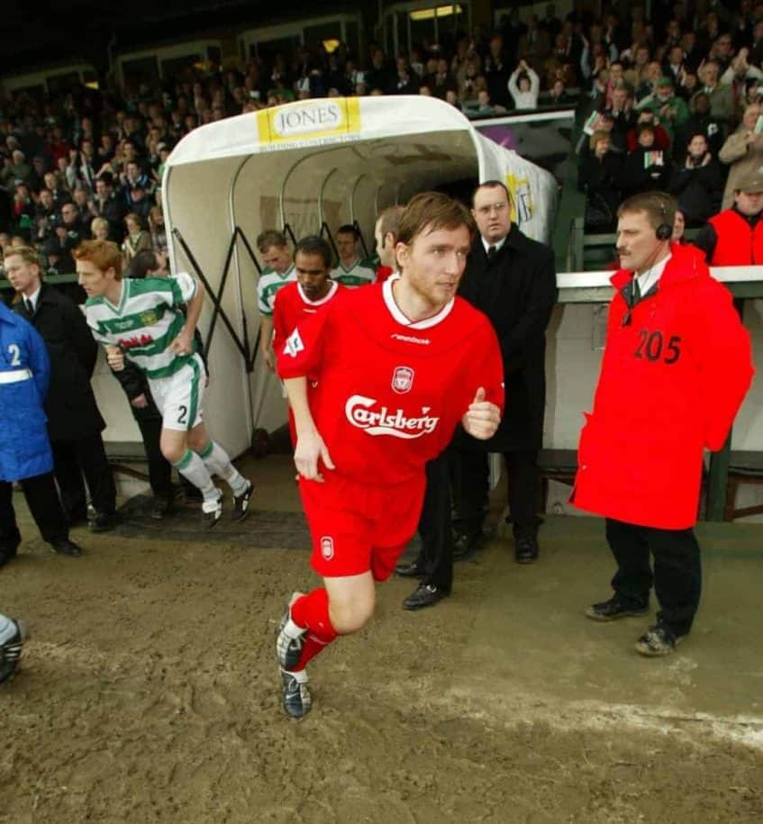 YEOVIL, ENGLAND - Sunday, January 4, 2004: Liverpool Vladimir Smicer walks out before the FA Cup 3rd Round match against Yeovil at Huish Park. (Pic by David Rawcliffe/Propaganda)