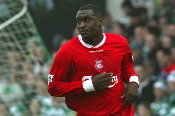 YEOVIL, ENGLAND - Sunday, January 4, 2004: Liverpool's Emile Heskey celebrates his goal against Yeovil during the FA Cup 3rd Round match at Huish Park. (Pic by David Rawcliffe/Propaganda)
