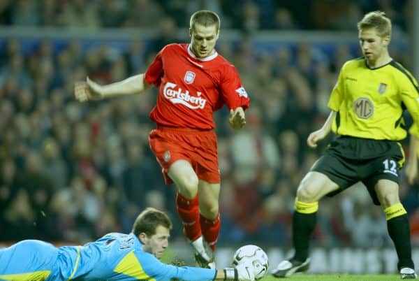 LIVERPOOL, ENGLAND - Saturday, January 10, 2004: Aston Villa's goalkeeper Thomas Sorensen saves at the feet of Liverpool's Michael Owen during the Premiership match at Anfield. (Photo by David Rawcliffe/Propaganda)