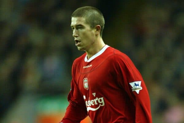 LIVERPOOL, ENGLAND - Saturday, January 10, 2004: Liverpool's Harry Kewell in action against Aston Villa during the Premiership match at Anfield. (Photo by David Rawcliffe/Propaganda)