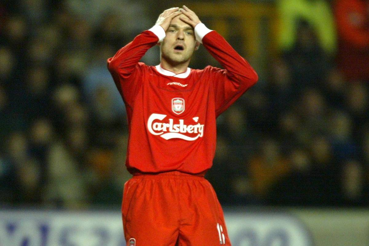 WOLVERHAMPTON, ENGLAND - Wednesday, January 21st, 2004: Liverpool's Danny Murphy rues a missed chance against Wolverhampton Wanderers during the Premiership match at Molineux. (Pic by David Rawcliffe/Propaganda)