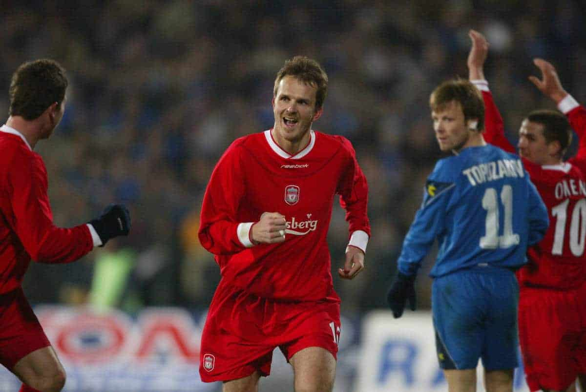 SOFIA, BULGARIA - Wednesday, March 3, 2004: Liverpool's Dietmar Hamann celebrates scoring the third goal against Levski Sofia during the UEFA Cup 4th Round 2nd Leg match at the Vasil Levski Stadium. (Pic by David Rawcliffe/Propaganda)