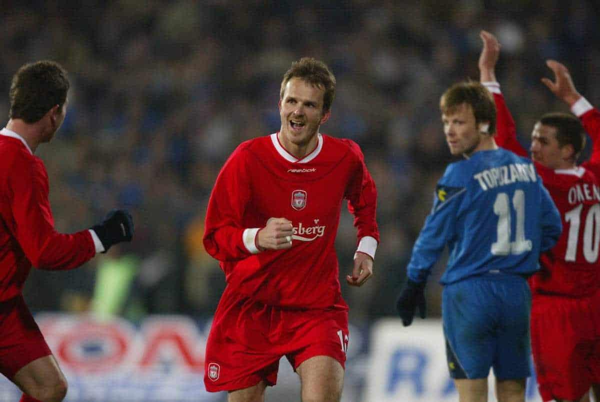 SOFIA, BULGARIA - Wednesday, March 3, 2004: Liverpool's Dietmar Hamann celebrates scoring the third goal against Levski Sofia during the UEFA Cup 4th Round 2nd Leg match at the Vasil Levski Stadium. (Pic by David Rawcliffe/Propaganda)