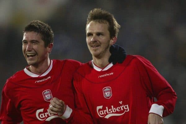SOFIA, BULGARIA - Wednesday, March 3, 2004: Liverpool's Dietmar Hamann celebrates scoring the third goal against Levski Sofia with team-mate Harry Kewell during the UEFA Cup 4th Round 2nd Leg match at the Vasil Levski Stadium. (Pic by David Rawcliffe/Propaganda)