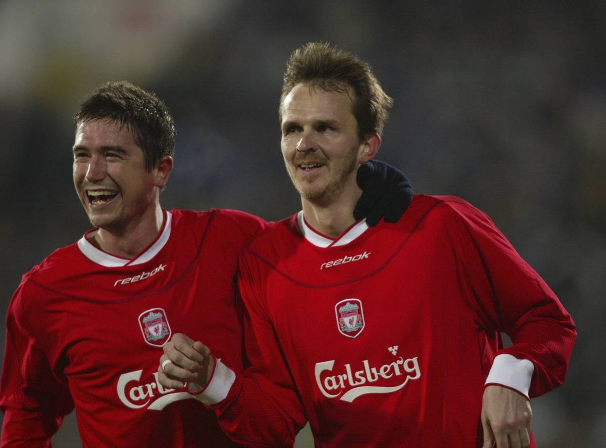 Liverpool's Dietmar Hamann celebrates scoring the third goal against Levski Sofia with team-mate Harry Kewell during the UEFA Cup 4th Round 2nd Leg match at the Vasil Levski Stadium. (Pic by David Rawcliffe/Propaganda)