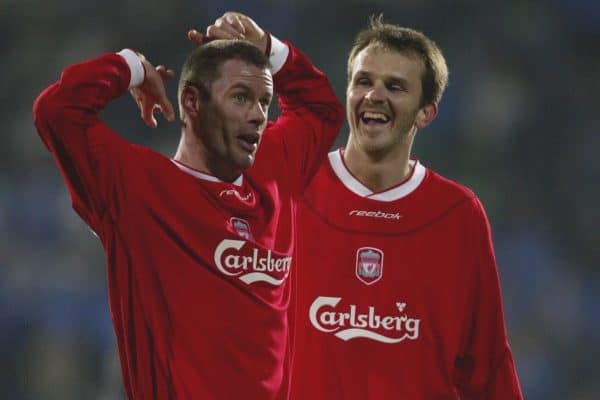 SOFIA, BULGARIA - Wednesday, March 3, 2004: Liverpool's Jamie Carragher and Dietmar Hamann celebrate beating Levski Sofia 4-2 during the UEFA Cup 4th Round 2nd Leg match at the Vasil Levski Stadium. (Pic by David Rawcliffe/Propaganda)