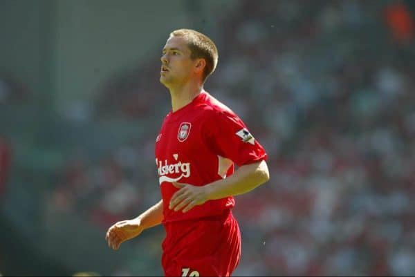 LIVERPOOL, ENGLAND: Saturday, May 15, 2004: Liverpool's Michael Owen in action against Newcastle United during the final Premiership game of the season at Anfield. (Pic by David Rawcliffe/Propaganda)
