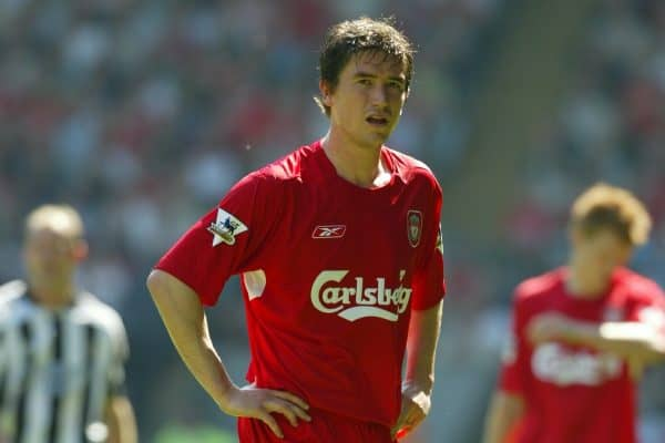 LIVERPOOL, ENGLAND: Saturday, May 15, 2004: Liverpool's Harry Kewell in action against Newcastle United during the final Premiership game of the season at Anfield. (Pic by David Rawcliffe/Propaganda)