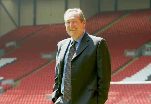 Liverpool's manager Gerard Houllier on the pitch at Anfield after a press conference to announce his departure from the club. (Photo by David Rawcliffe/Propaganda)