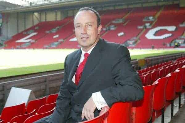 LIVERPOOL, ENGLAND - WEDNESDAY JUNE 16 2004: Rafael Benitez is unveiled as Liverpool FC's new manager at Anfield, Liverpool. (Photo by David Rawcliffe/Propaganda)