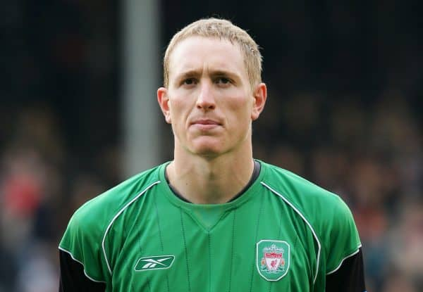LONDON, ENGLAND - SATURDAY OCTOBER 16th 2004: Liverpool's goalkeeper Chris Kirkland lines up against Fulham before the Premiership match at Craven Cottage. (Photo by David Rawcliffe/Propaganda)