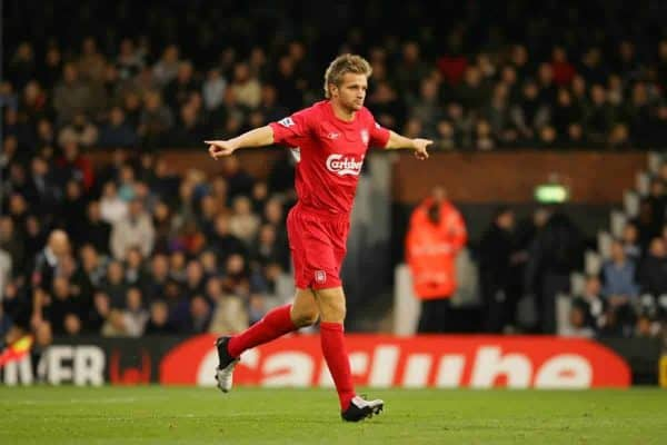 LONDON, ENGLAND - SATURDAY OCTOBER 16th 2004: Liverpool's Igor Biscan celebrates scoring the fourth goal against Fulham during the Premiership match at Craven Cottage. (Photo by David Rawcliffe/Propaganda)