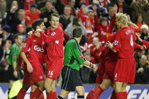LIVERPOOL, ENGLAND- SUNDAY NOVEMBER 28th 2004: Liverpool's Xabi Alonso celebrates scoring the opening goal against Arsenal with Dietmar Hamann during the Premiership match at Anfield. (Pic by David Rawcliffe/Proparganda)