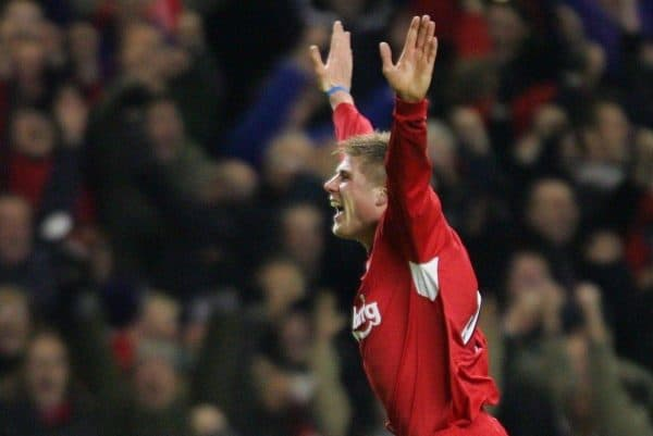 LIVERPOOL, ENGLAND- SUNDAY NOVEMBER 28th 2004: Liverpool's Neil Mellor celebrates scoring the winning goal in injury time against Arsenal during the Premiership match at Anfield. (Pic by David Rawcliffe/Proparganda)
