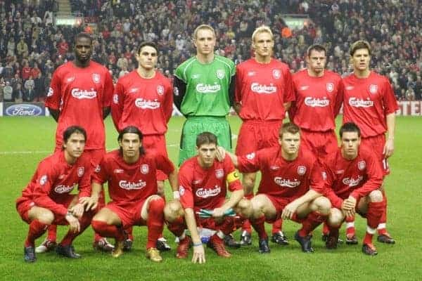 LIVERPOOL, ENGLAND- WEDNESDAY DECEMBER 8th 2004: Liverpool line-up for a team photo before the UEFA Champions League Group A match against Olympiakos at Anfield. ..Back row L-R: Djimi Traore, Antonio Nunez, Chris Kirkland, Sami Hyypia, Jamie Carragher, Xabi Alonso. Front row l-r: Harry Kewell, Milan Baros, Steven Gerrard, John Arne Riise, Steve Finnan. (Pic by David Rawcliffe/Proparganda)