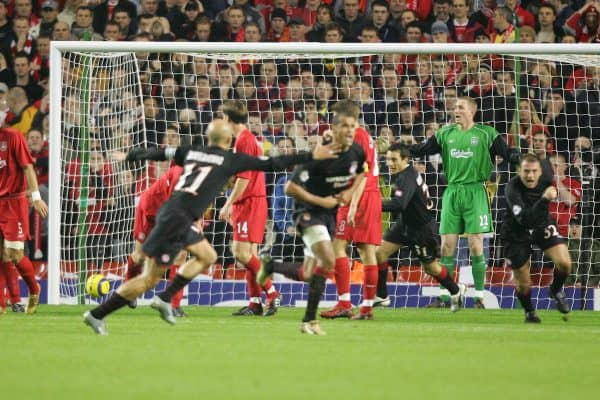 LIVERPOOL, ENGLAND- WEDNESDAY DECEMBER 8th 2004: Liverpool's Chris Kirkland looks shocked as Olympiakos' Rivaldo scores the opening goal during the UEFA Champions League Group A match at Anfield. (Pic by David Rawcliffe/Proparganda)