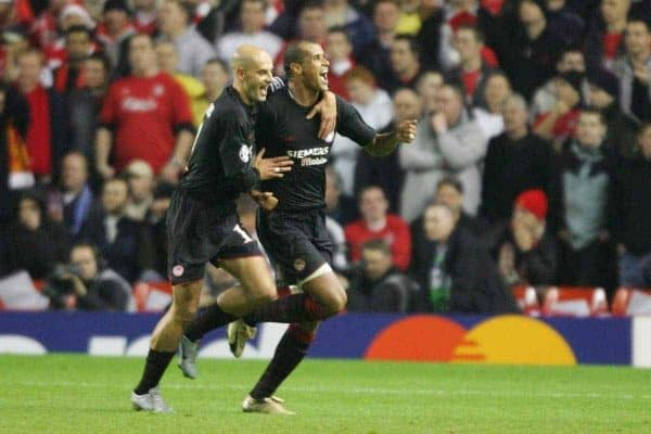 LIVERPOOL, ENGLAND- WEDNESDAY DECEMBER 8th 2004: Olympiakos' Rivaldo celebrates scoring the opening goal against Liverpool with his team mate Predrag Djordjevic (L) during the UEFA Champions League Group A match at Anfield. (Pic by David Rawcliffe/Proparganda)
