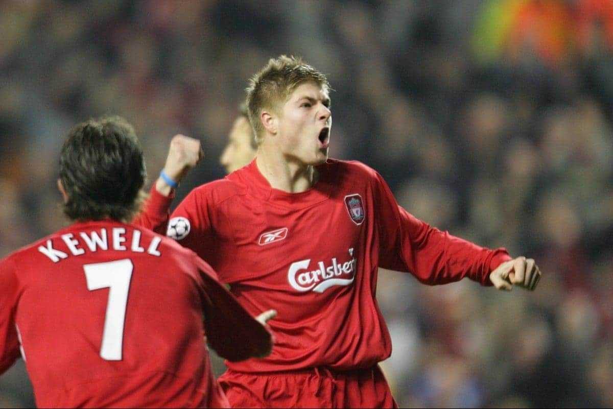 LIVERPOOL, ENGLAND- WEDNESDAY DECEMBER 8th 2004: Liverpool's Neil Mellor celebrates scoring the second goal against Olympiakos during the UEFA Champions League Group A match at Anfield. (Pic by David Rawcliffe/Proparganda)