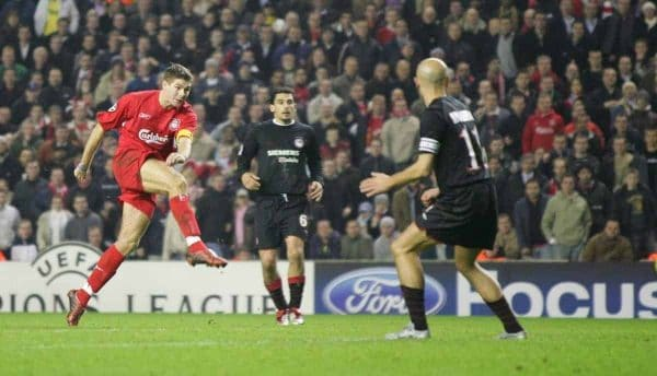 LIVERPOOL, ENGLAND- WEDNESDAY DECEMBER 8th 2004: Liverpool's Steven Gerrard scores the winning goal, and his side's third, against Olympiakos during the UEFA Champions League Group A match at Anfield. (Pic by David Rawcliffe/Proparganda)