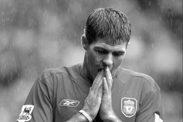LIVERPOOL, ENGLAND - SATURDAY JANUARY 1st 2005: Liverpool's Steven Gerrard looks dejected after losing 1-0 to Chelsea during the Premiership match at Anfield. (Pic by David Rawcliffe/Propaganda)