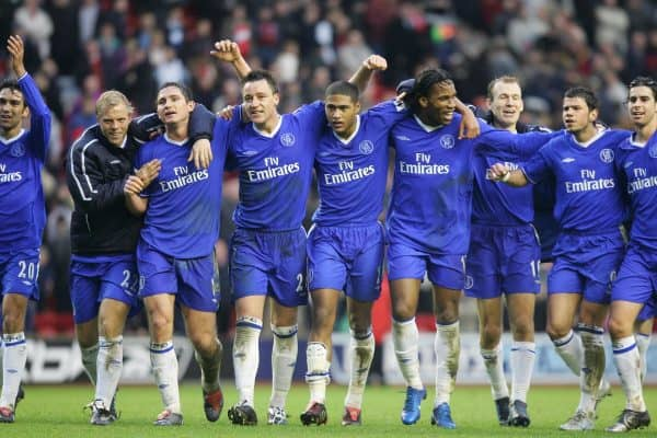 LIVERPOOL, ENGLAND - SATURDAY JANUARY 1st 2005: Chelsea players celebrate their 1-0 victory over Liverpool after the Premiership match at Anfield. L-R: Eidur Gudjohnsen, Frank Lampard, John Terry, Glen Johnson, Didier Drogba, Arjen Robben, Mateja Kezman and Tiago. (Pic by David Rawcliffe/Propaganda)
