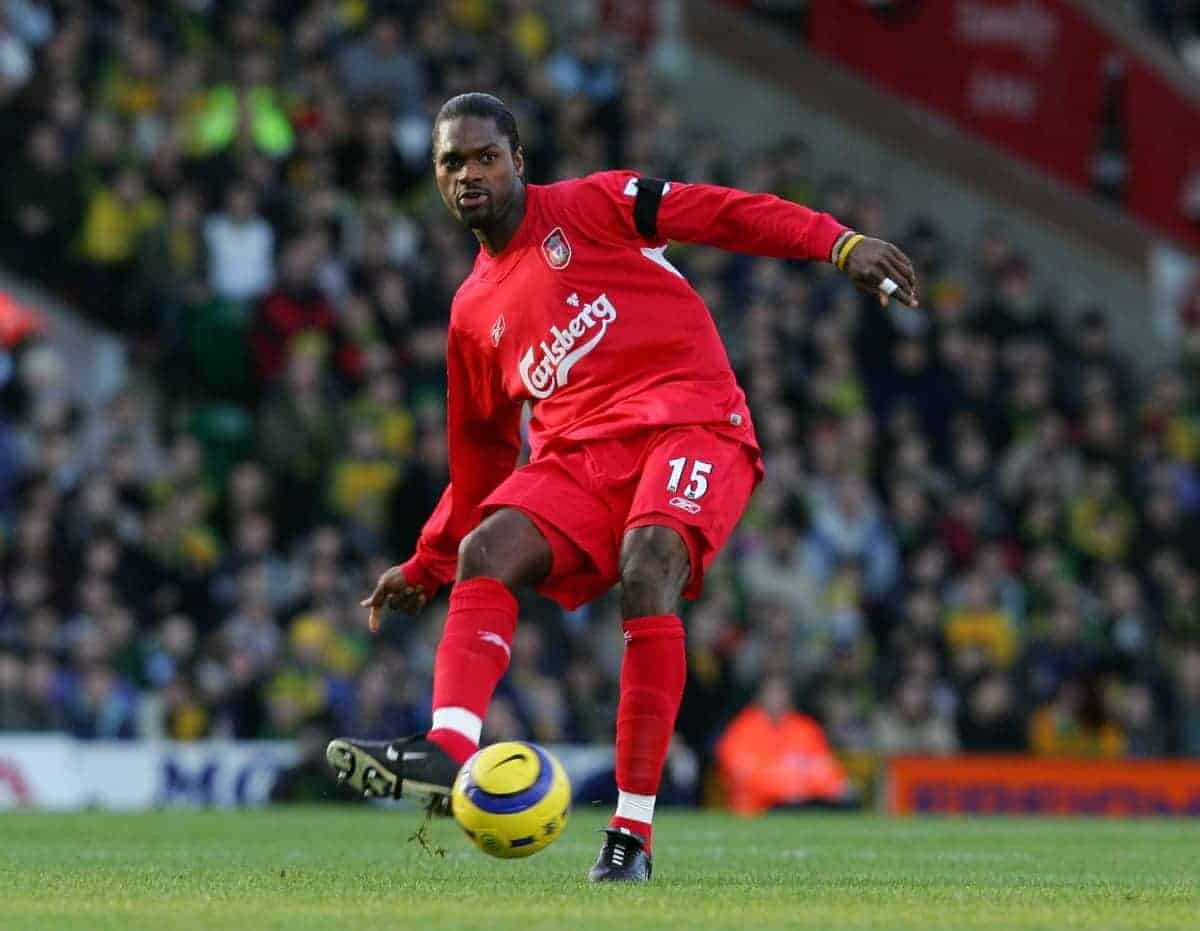 Liverpool's Salif Diao in action against Norwich City during the Premiership match at Carrow Road. (Pic by David Rawcliffe/Propaganda)