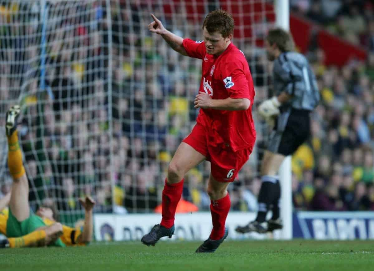 NORWICH, ENGLAND - MONDAY JANUARY 3rd 2005: Liverpool's John Arne Riise celebrates scoring the second goal against Norwich City during the Premiership match at Carrow Road. (Pic by David Rawcliffe/Propaganda)
