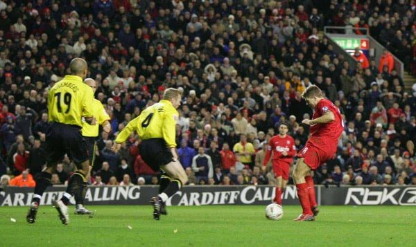LIVERPOOL, ENGLAND - TUESDAY JANUARY 11th 2005: Liverpool's Steven Gerrard scores the opening goal against Watford during the League Cup Semi-Final 1st Leg at Anfield. (Pic by David Rawcliffe/Propaganda)