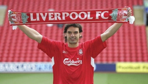 LIVERPOOL, ENGLAND - FRIDAY JANUARY 14th 2005: New Liverpool's new signing Fernando Morientes at an Anfield press conference following his £6.3 million move from Spanish Champions Real Madrid. (Pic by David Rawcliffe/Propaganda)