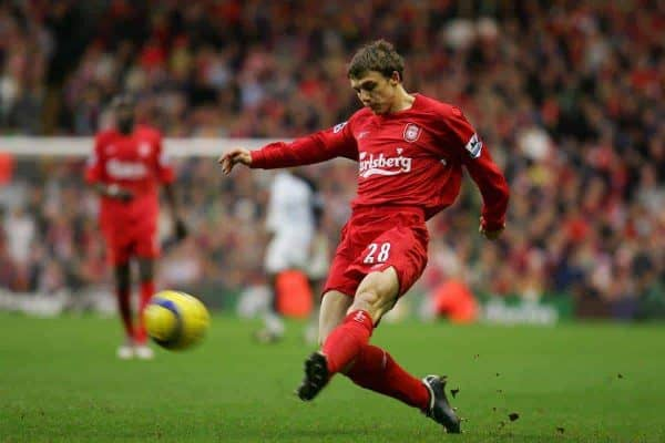 LIVERPOOL, ENGLAND - SATURDAY FEBRUARY 5th 2005: Liverpool's Stephen Warnock in action against Fulham during the Premiership match at Anfield. (Pic by David Rawcliffe/Propaganda)